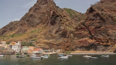 Small harbour on Madeira island Stock Footage