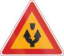 Korea Traffic Safety Sign - Attention - Both Side Road - stock illustration