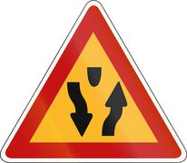 Korea Traffic Safety Sign - Attention - Median Start - stock illustration