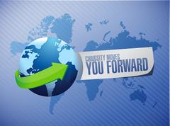 Curiosity moves you forward global sign - stock illustration
