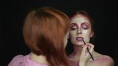 Fashion model makeup lips woman - stock footage
