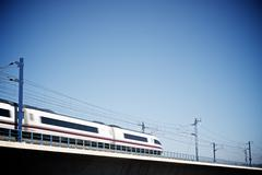 view of a high-speed train crossing a viaduct in Zaragoza Province, Aragon, Spai - stock photo