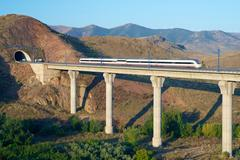 View of a high-speed train crossing a viaduct in Purroy, Zaragoza, Aragon, Spain Stock Photos