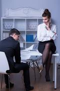 Boss criticizing employee Stock Photos
