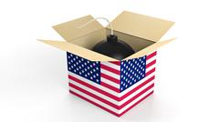 Bomb in box with flag of USA, isolated on white background. - stock illustration