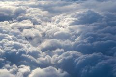 Stock Photo of Fluffy storm clouds, aerial photography.