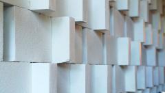 white base relief interior wall decoration in shop and restaurant - stock footage