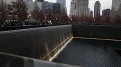 911 Memorial World Trade Center Fountain Building Footprint NYC Stock Footage