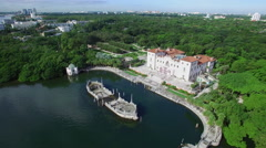 Aerial video Vizcaya Museum and Gardens Stock Footage