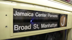 New York City Subway Car Sign J Train Manhattan Jamaica Line Stock Footage
