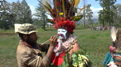 Traditional face paint at Mount Hagen Cultural Show  - stock footage