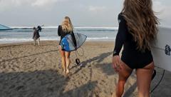 Surf Girls Walking slow motion Stock Footage