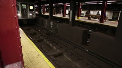 New York City Subway Train Arriving At Station Stock Footage