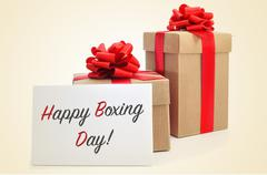 gifts and signboard with text happy boxing day - stock photo