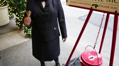 Woman Ringing Salvation Army Charity Bell at Christmas New York City Stock Video - stock footage