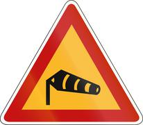 South Korea road sign - Dangerous Side winds - stock illustration