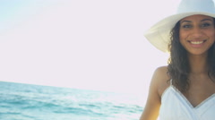 Social media portrait of ethnic Latin American female on luxury vacation Stock Footage