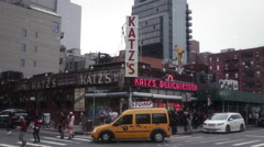 Stock Video Footage of Crowd of People outside at Katz deli during Christmas in New York City