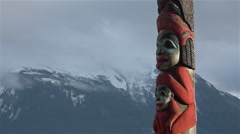 Alaska Klingit Totem Pole Mountain Time Lapse Stock Footage
