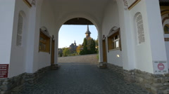 Barsana Monastery seen from the entrance Stock Footage