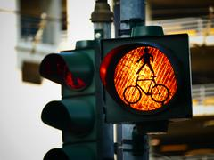Stock Photo of Red Traffic light for pedestrian and bicycle bike