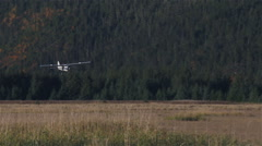Remote Airplane Landing in the Alaskan Bush. Stock Footage