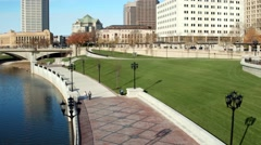 COLUMBUS DOWNTOWN RIVERFRONT_AERIAL_20 Stock Footage