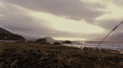 Rocky Beach Ocean Waves Jib Up Stock Footage
