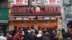 Stock Video Footage of National Lottery Milli Piyango Nimet Abla stand at Bahcekapi