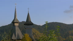 View of the wooden church's tower and belfry at Barsana monastery Stock Footage