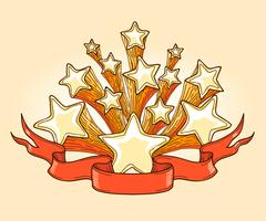 Dooddle Gold Stars and Red Banner - stock illustration