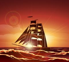 Sailing Ship in the Ocean Piirros