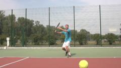 Powerful forehand. Spectacular tennis shot in slow motion. Stock Footage