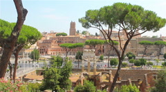 Summer sunny Rome, view of the Roman Forum Stock Footage