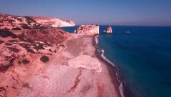 AERIAL: Petra tou Romiou - Rock of Aphrodite - Cyprus Landmark Stock Footage