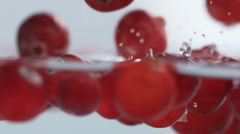 Cranberries Splashing into Water. Slow Motion. Stock Footage