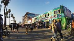People Tourists Walking On Venice Beach Boardwalk Stock Footage