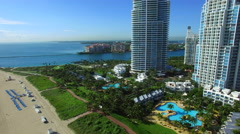Miami Beach south pointe park aerial video Stock Footage