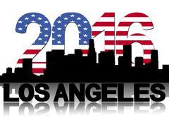 Los Angeles skyline 2016 flag text illustration - stock illustration