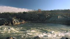Water Fall of the Potomac River at Great Falls Park Stock Footage