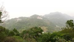View on Zhinan Temple through opening, mountain landscape afternoon haze Stock Footage
