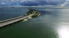 Rickenbacker Causeway Aerial video Stock Footage