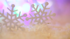 Christmas toys snowflakes on a background of snow Stock Footage