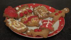 Childs christmas ginger bread cookies biscuits rack/pull focus Stock Footage