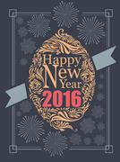 Happy new year typography and fire work retro poster design vector design - stock illustration