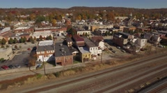 Aerial Shot of Downtown New Brighton, PA Stock Footage