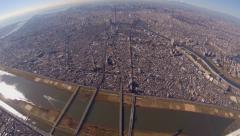 Stock Video Footage of Tokyo Cityscape and Mt fuji Aerial view wide angle