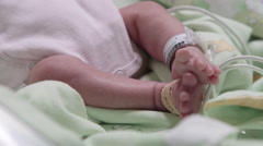 Intensive care unit for newborn babies - massage Stock Footage