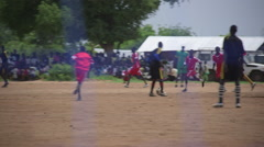 South Sudan - Gorom refugee camp football game - stock footage
