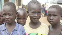 South Sudan Gorom refugee camp - kids - stock footage